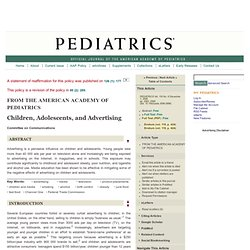 Children, Adolescents, and Advertising