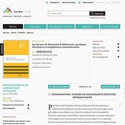 Les forums de discussion d'adolescents: pratiques d'écritures et compétences communicatives
