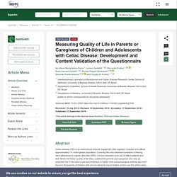 NUTRIENTS 27/09/19 Measuring Quality of Life in Parents or Caregivers of Children and Adolescents with Celiac Disease: Development and Content Validation of the Questionnaire