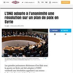 L'ONU adopte à l'unanimité une résolution sur un plan de paix en Syrie