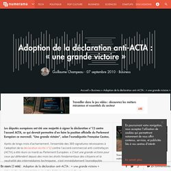 "Adoption de la déclaration anti-ACTA : ""une grande victoire"" - Numerama"