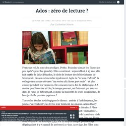 Ados : zéro de lecture ?, LeMonde, 11/2012