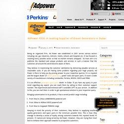 AdPower FZCO: A Leading Supplier of Diesel Generators in Dubai