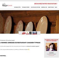 7 bonnes adresses de restaurant canadien typique