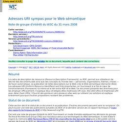 Adresses URI sympas pour le Web sémantique