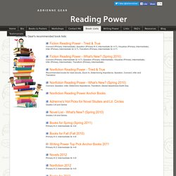 Adrienne Gear Reading Power Recommended Book Lists