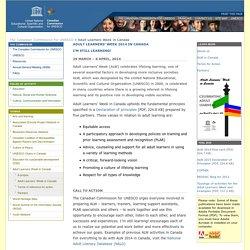 ADULT LEARNERS' WEEK 2014 IN CANADA