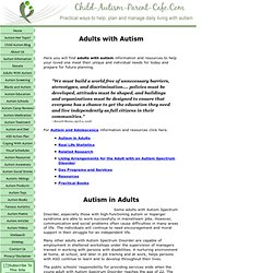 Adults With Autism Spectrum Disorder