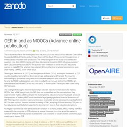 OER in and as MOOCs (Advance online publication)