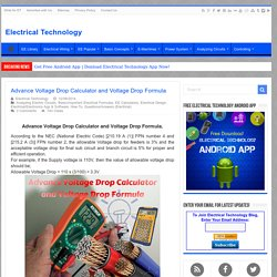 Advance Voltage Drop Calculator and Voltage Drop Formula