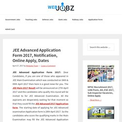 JEE Advanced Application Form 2017, Online Apply for JEE ADV 2017