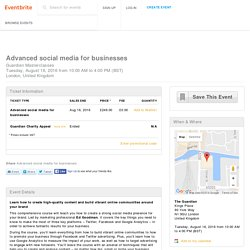 Advanced social media for businesses Tickets, Tue, Aug 16, 2016 at 10:00 AM