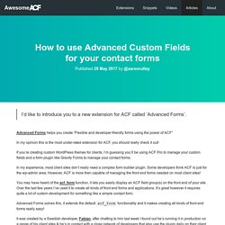 How to use Advanced Custom Fields for your contact forms - Awesome ACF