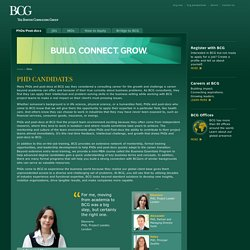 Advanced Degrees at BCG - Advanced Degrees at BCG - PhDs