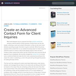 Create an Advanced Contact Form for Client Inquiries | Vandelay