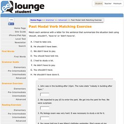 Past Modal Verb Matching Exercise