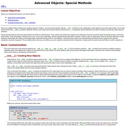 Advanced Objects: Special Methods