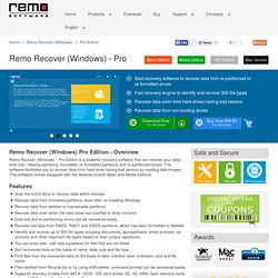 Remo Recover (Windows) Pro Edition - Advanced Hard Drive Partition Recovery Software