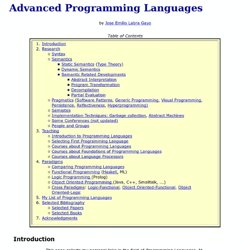 Advanced Programming Languages