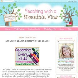 Advanced Reading Intervention Plans