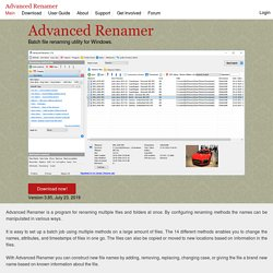 Advanced Renamer - Fast and feature rich batch rename utility