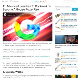 11 Advanced Searches To Bookmark To Become A Google Power User