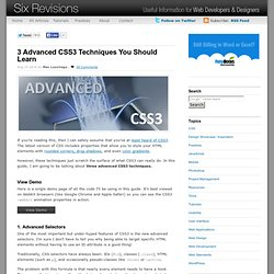 3 Advanced CSS3 Techniques You Should Learn
