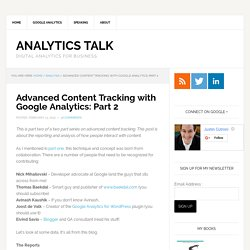 Advanced Content Tracking with Google Analytics: Part 2
