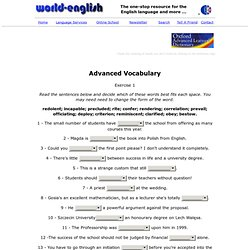 advanced vocabulary exercises