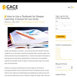 How to Use a Textbook for Deeper Learning: A lesson for our times
