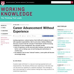 Career Advancement Without Experience - HBS Working Knowledge - Harvard Business School