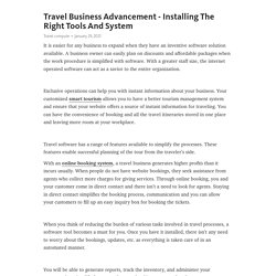 Travel Business Advancement - Installing The Right Tools And System – Telegraph