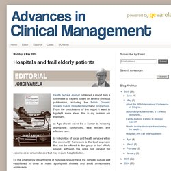Advances in Clinical Management: Hospitals and frail elderly patients