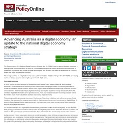 Advancing Australia as a digital economy: an update to the national digital economy strategy