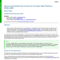 Advancing Portable Documents for the Open Web Platform: EPUB-WEB