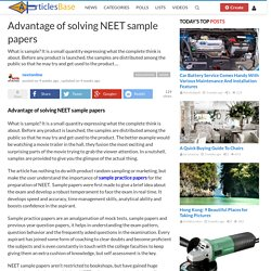 Advantage of solving NEET sample papers