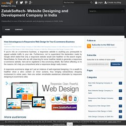 How Advantageous is Responsive Web Design for Your E-commerce Business - ZatakSoftech- Website Designing and Development Company in India