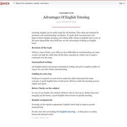 Advantages Of English Tutoring