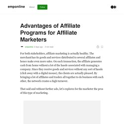 Advantages of Affiliate Programs for Affiliate Marketers