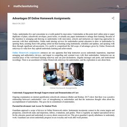 Advantages Of Online Homework Assignments