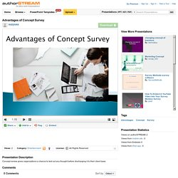 Advantages of Concept Survey