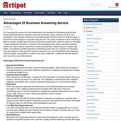 Advantages Of Business Answering Service