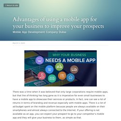 Advantages of using a mobile app for your business to improve your prospects