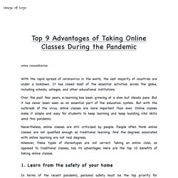 Top 9 Advantages of Taking Online Classes During the Pandemic
