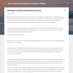 Advantages of Software Development Company