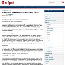 Advantages and Disadvantage of Credit Cards