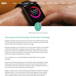 Advantages and Disadvantages of Wearable Technology