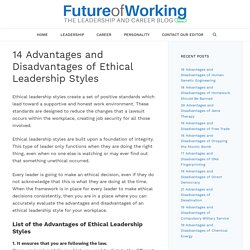 14 Advantages and Disadvantages of Ethical Leadership Styles