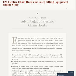 Advantages of Electric Chain Hoists
