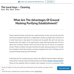 What Are The Advantages Of Ground Masking Purifying Establishment?